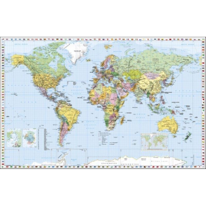 Deutsche Beschriftung Politische Weltkarte 1 30 000 000 mit Flaggen mit Oberflächenlaminat
