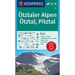 Pitztal Karte.Wk 43 ötztaler Alpen ötztal Pitztal 1 50 000