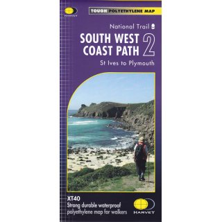 South West Coast Path 2 - St Ives to Plymouth 1:40.000