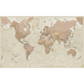 World Map antique laminiert beleistet 30 Mio.